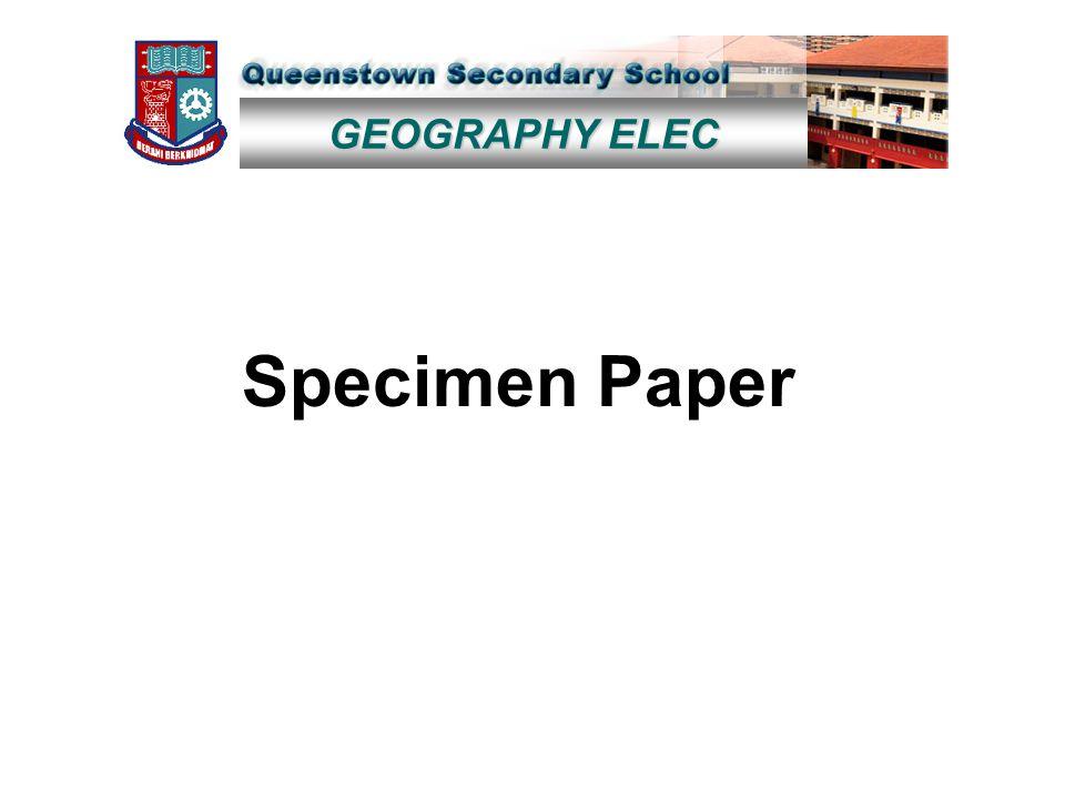 GEOGRAPHY ELEC Specimen Paper