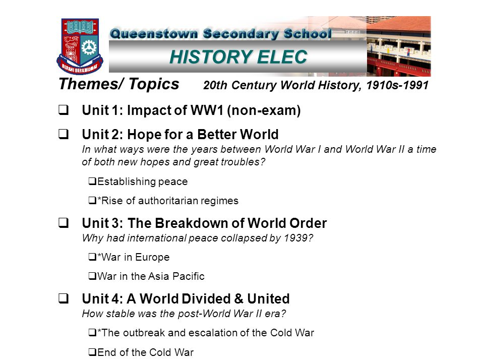 HISTORY ELEC Themes/ Topics 20th Century World History, 1910s-1991  Unit 1: Impact of WW1 (non-exam)  Unit 2: Hope for a Better World In what ways were the years between World War I and World War II a time of both new hopes and great troubles.
