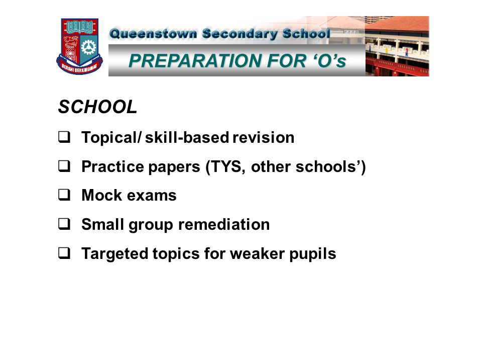 PREPARATION FOR 'O's SCHOOL  Topical/ skill-based revision  Practice papers (TYS, other schools')  Mock exams  Small group remediation  Targeted