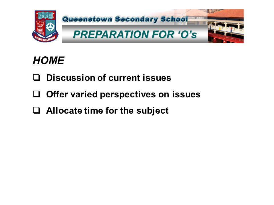 PREPARATION FOR 'O's HOME  Discussion of current issues  Offer varied perspectives on issues  Allocate time for the subject