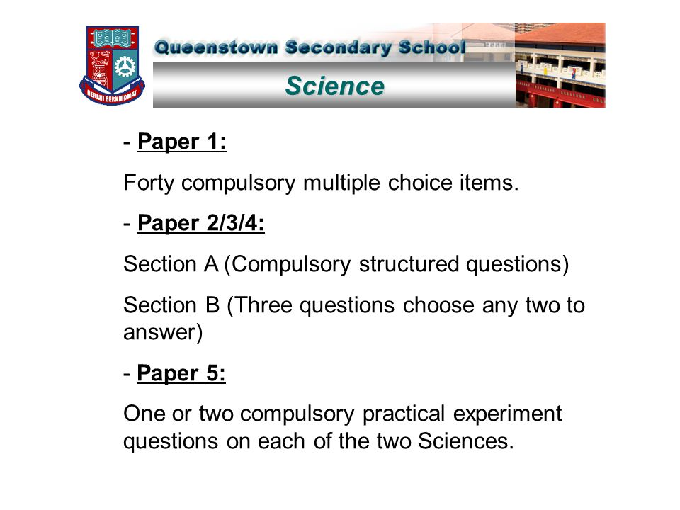 Science - Paper 1: Forty compulsory multiple choice items. - Paper 2/3/4: Section A (Compulsory structured questions) Section B (Three questions choos