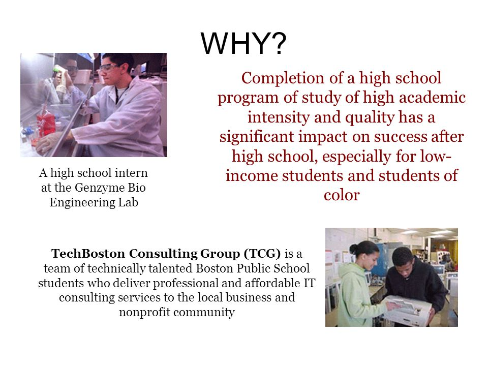 WHY? A high school intern at the Genzyme Bio Engineering Lab TechBoston Consulting Group (TCG) is a team of technically talented Boston Public School