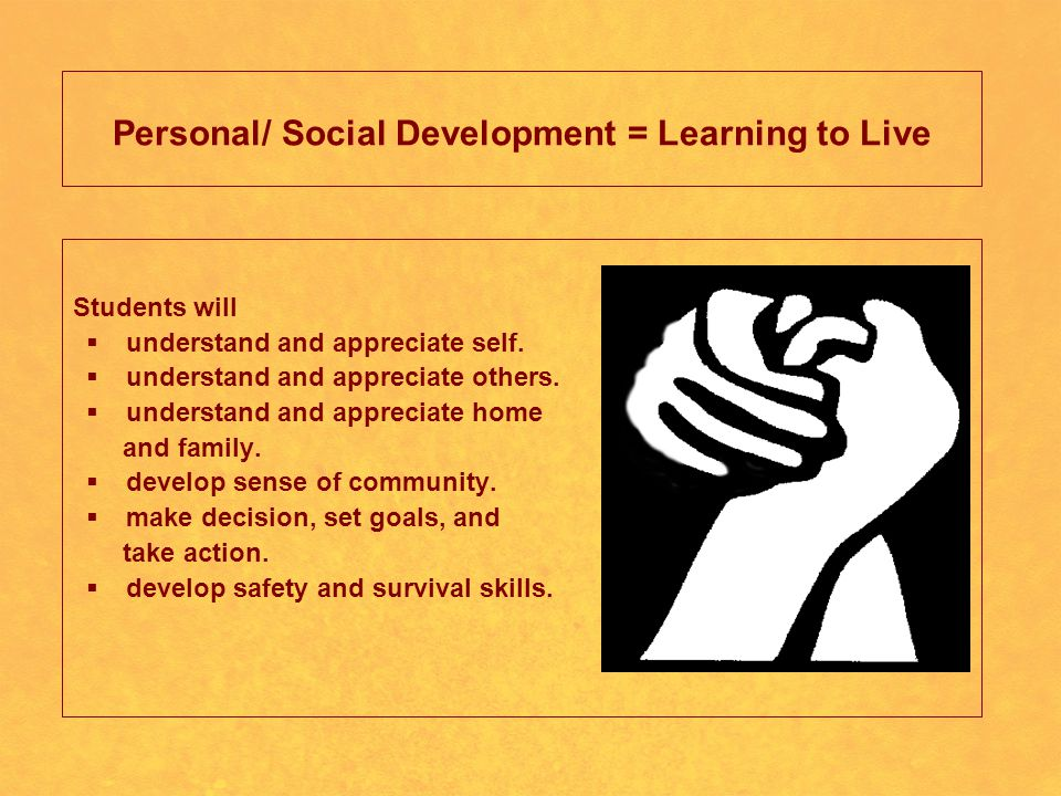 Personal/ Social Development = Learning to Live Students will  understand and appreciate self.
