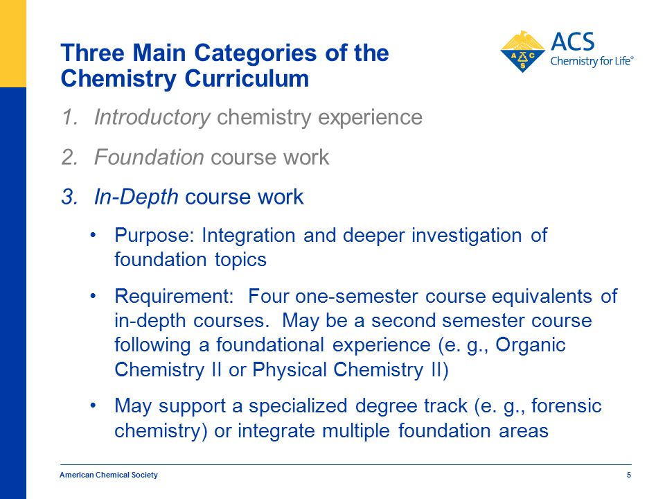 American Chemical Society 5 Three Main Categories of the Chemistry Curriculum 1.Introductory chemistry experience 2.Foundation course work 3.In-Depth