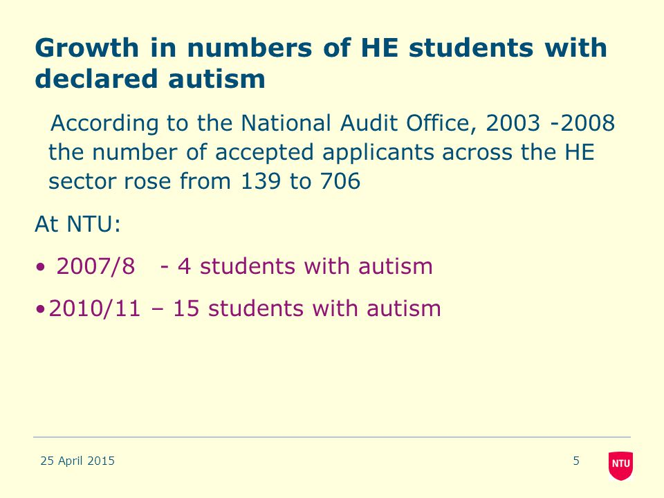 Growth in numbers of HE students with declared autism According to the National Audit Office, 2003 -2008 the number of accepted applicants across the