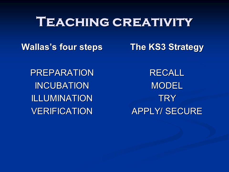 Teaching creativity Wallas's four steps PREPARATIONINCUBATIONILLUMINATIONVERIFICATION The KS3 Strategy RECALL MODEL TRY APPLY/ SECURE