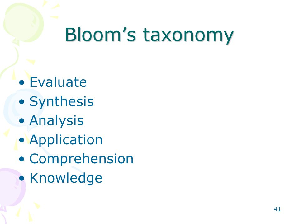 41 Bloom's taxonomy Evaluate Synthesis Analysis Application Comprehension Knowledge