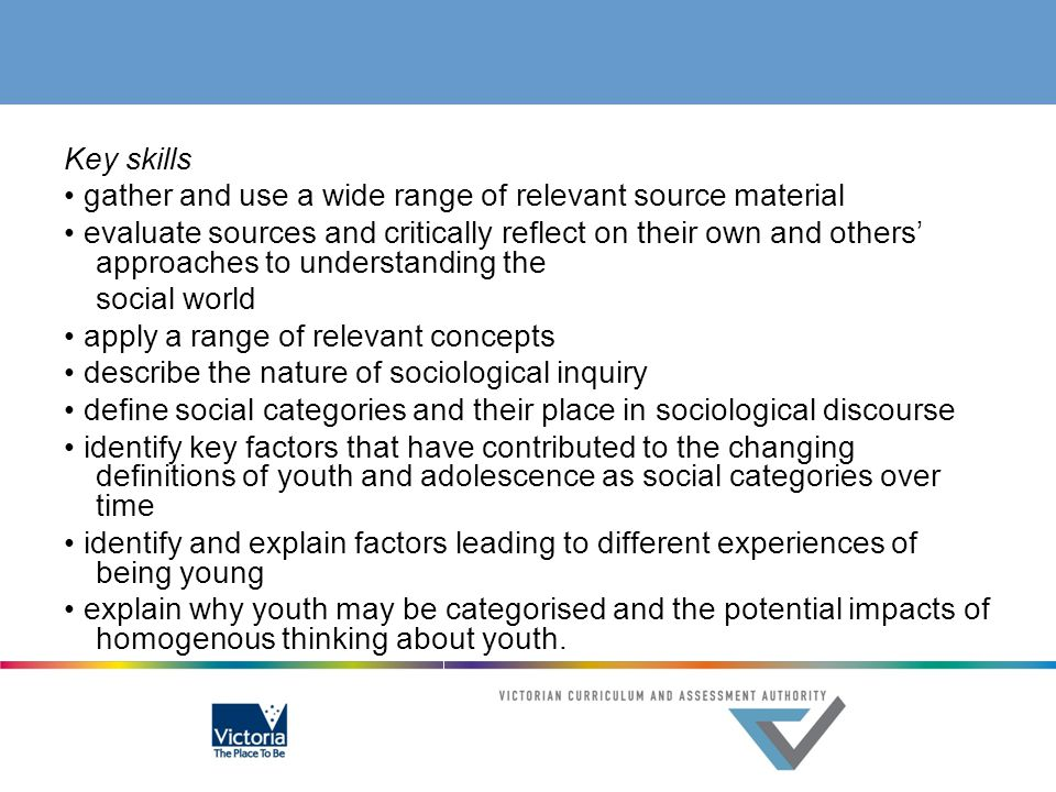 Key skills explain and apply sociological concepts explain the theory of ethnic hybridity outline Australia's ethnic diversity through the use of comparative methodology analyse the social, political and economic impact of immigration explain how social institutions engage with and respond to the needs of ethnic groups analyse the experience of a specific ethnic group with reference to relevant sociological concepts and theory explain the nature of ethical methodology, including voluntary participation, informed consent, privacy and the confidentiality of data apply ethical methodology to source relevant evidence source and use a range of relevant evidence to support observations and analysis evaluate sources and critically reflect on their own and others' approaches to understanding the social world synthesise evidence to draw conclusions.