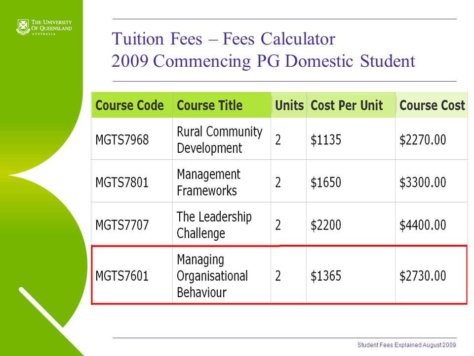 Student Fees Explained August 2009 Tuition Fees – Fees Calculator 2009 Commencing PG Domestic Student