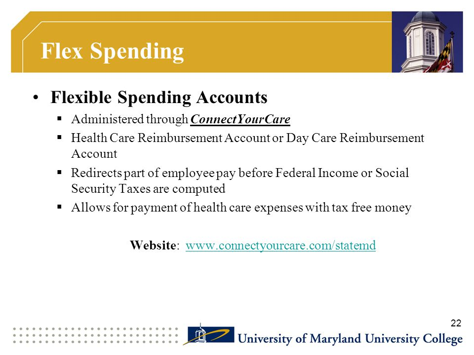 Flex Spending Flexible Spending Accounts  Administered through ConnectYourCare  Health Care Reimbursement Account or Day Care Reimbursement Account
