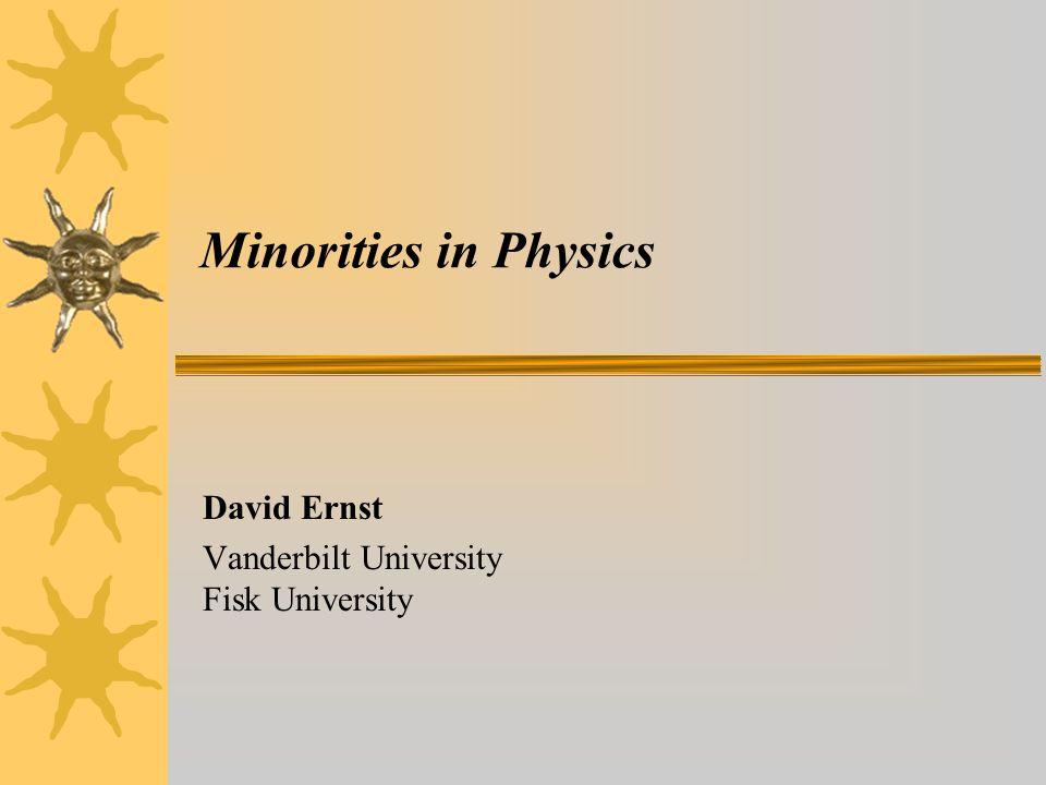 Minorities in Physics David Ernst Vanderbilt University Fisk University