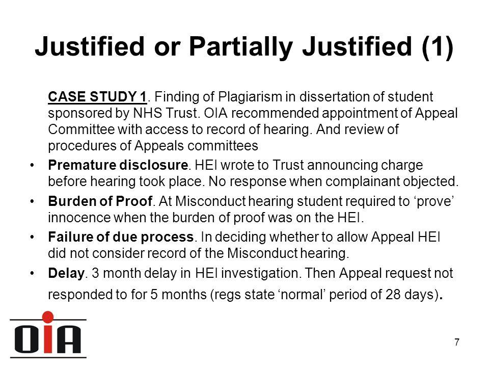 8 Justified or Partially Justified (2) CASE STUDY 2 M.Sc student given zero for coursework following Academic Misconduct Panel.