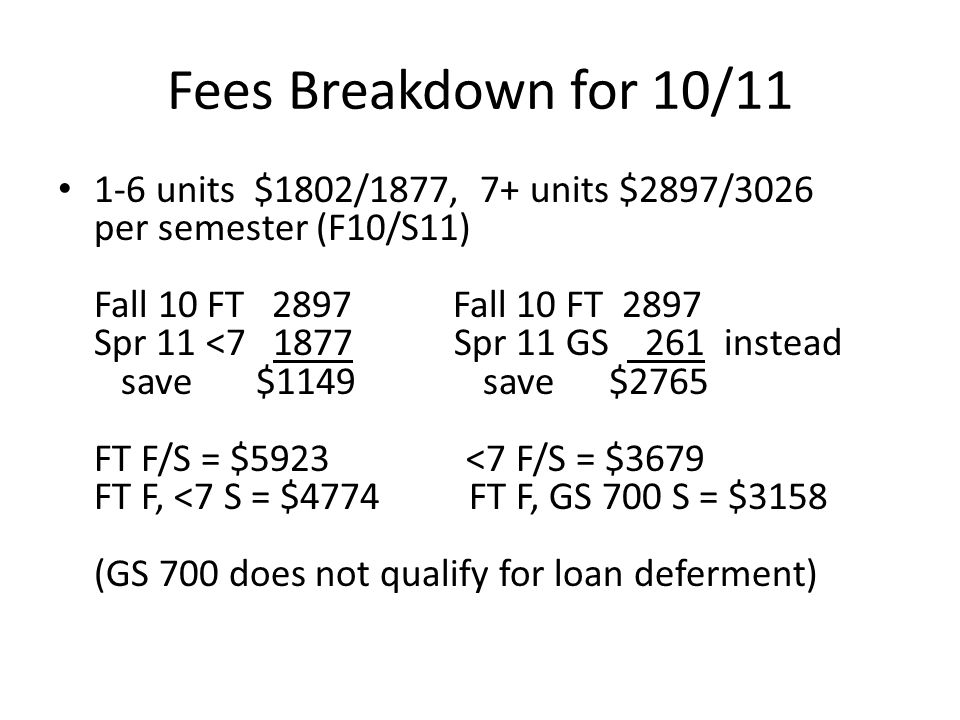 Fees Breakdown for 10/11 1-6 units $1802/1877, 7+ units $2897/3026 per semester (F10/S11) Fall 10 FT 2897 Fall 10 FT 2897 Spr 11 <7 1877 Spr 11 GS 261 instead save $1149 save $2765 FT F/S = $5923 <7 F/S = $3679 FT F, <7 S = $4774 FT F, GS 700 S = $3158 (GS 700 does not qualify for loan deferment)
