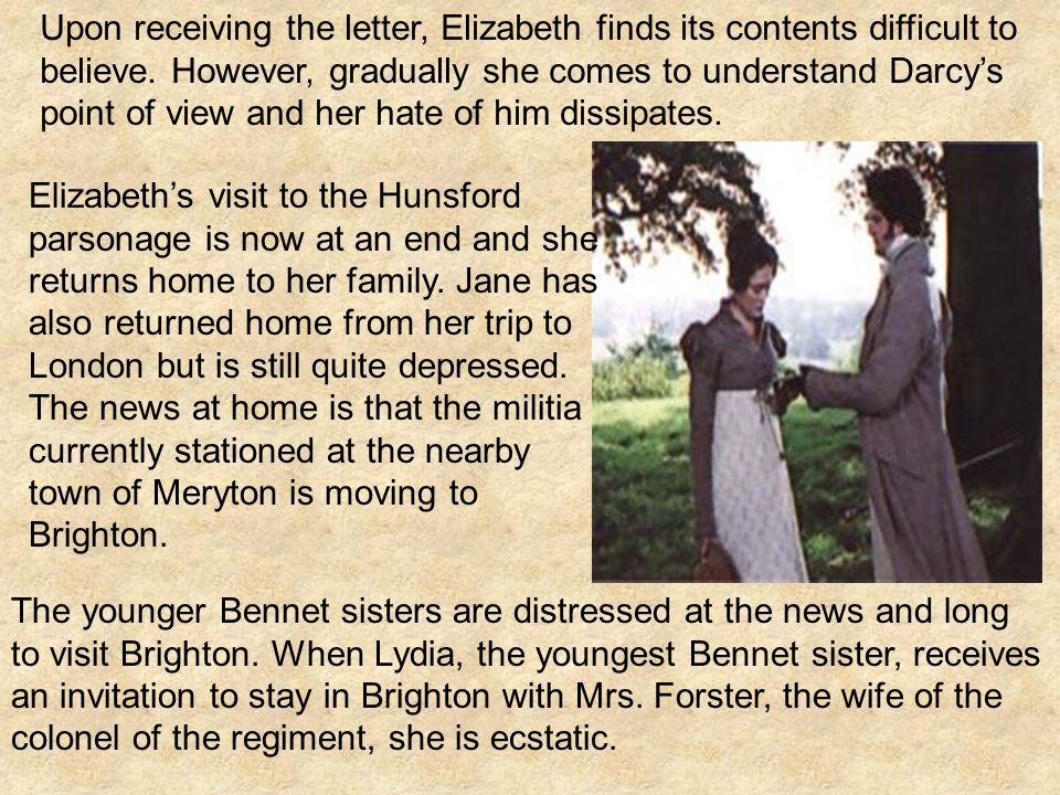 Upon receiving the letter, Elizabeth finds its contents difficult to believe.