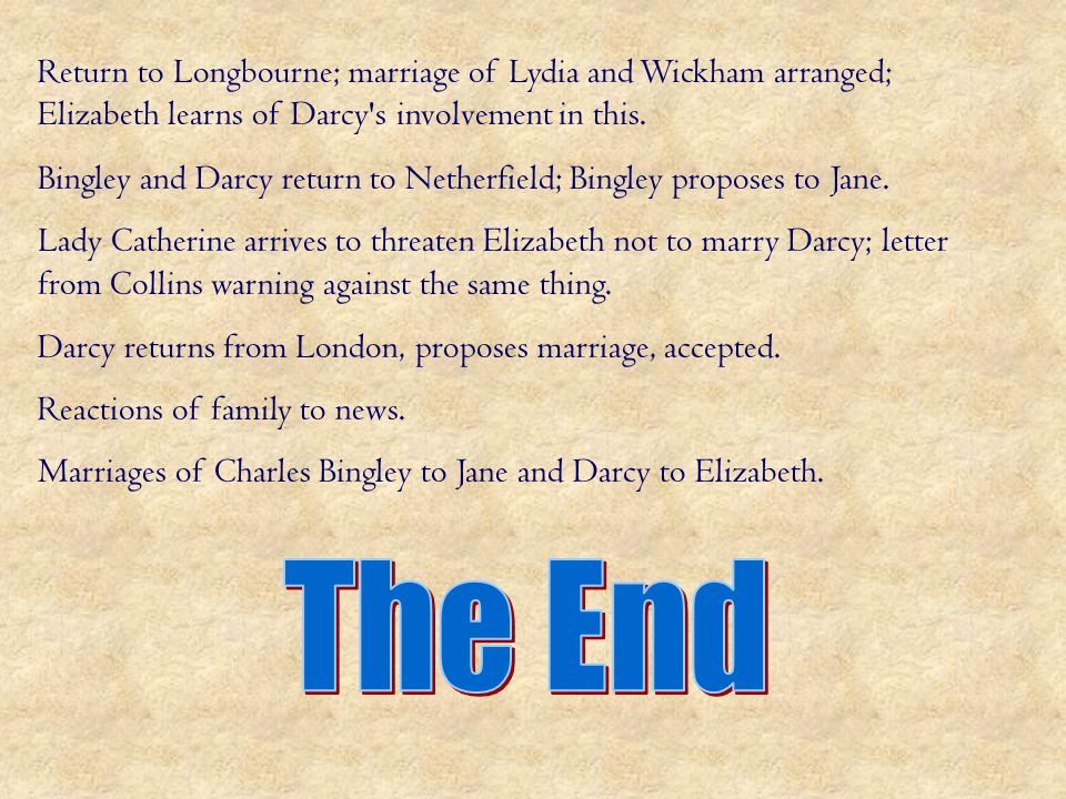 Return to Longbourne; marriage of Lydia and Wickham arranged; Elizabeth learns of Darcy s involvement in this.