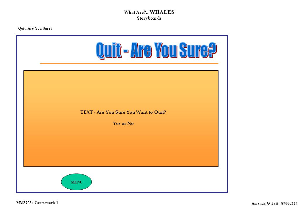 Quit, Are You Sure? What Are?... WHALES Storyboards Amanda G Tait - 87000237 MENU TEXT - Are You Sure You Want to Quit? Yes or No MM32034 Coursework 1