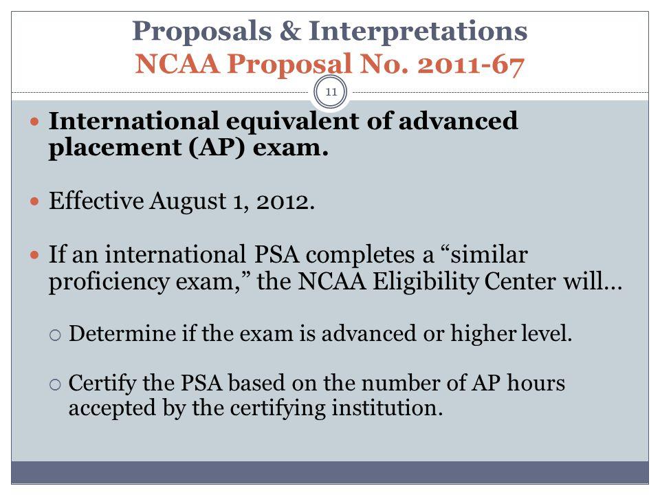 Proposals & Interpretations NCAA Proposal No.