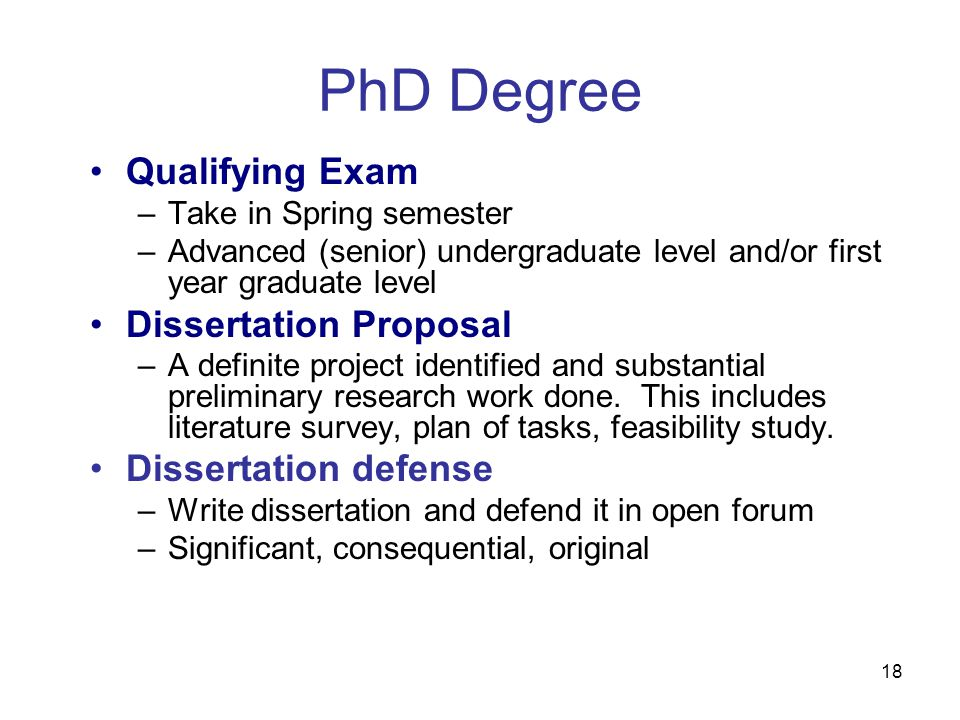 18 Qualifying Exam –Take in Spring semester –Advanced (senior) undergraduate level and/or first year graduate level Dissertation Proposal –A definite