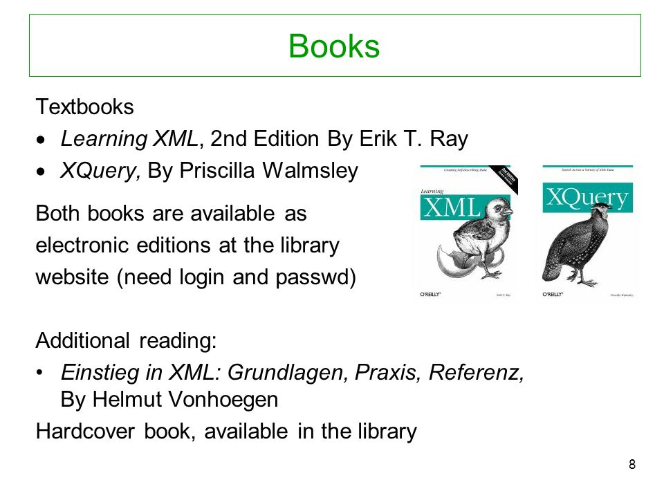 8 Books Textbooks  Learning XML, 2nd Edition By Erik T.