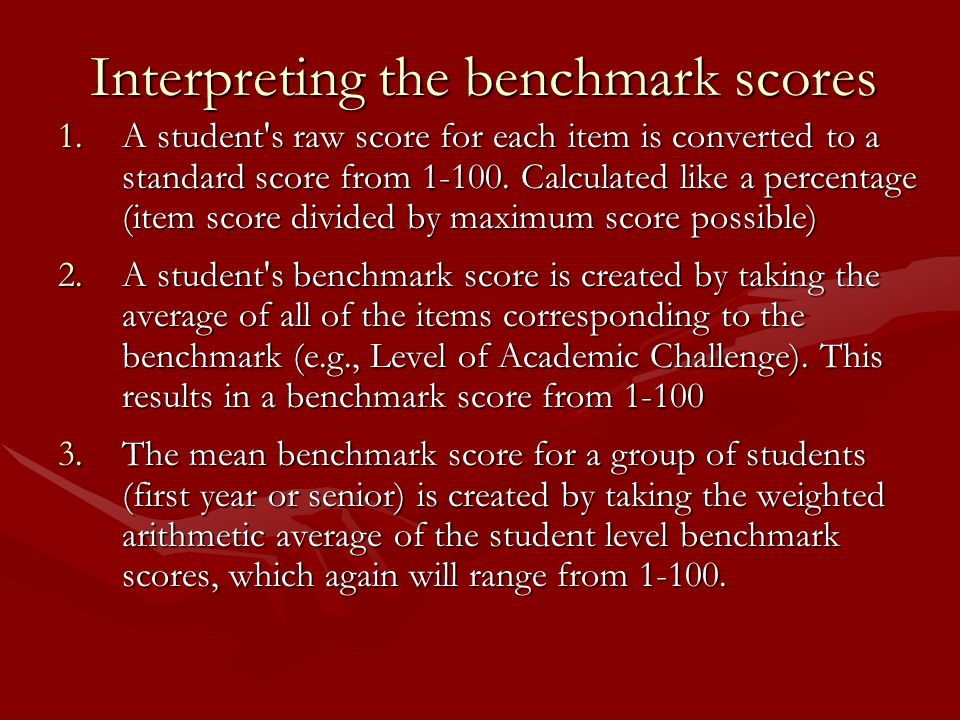 Interpreting the benchmark scores 1.A student s raw score for each item is converted to a standard score from 1-100.