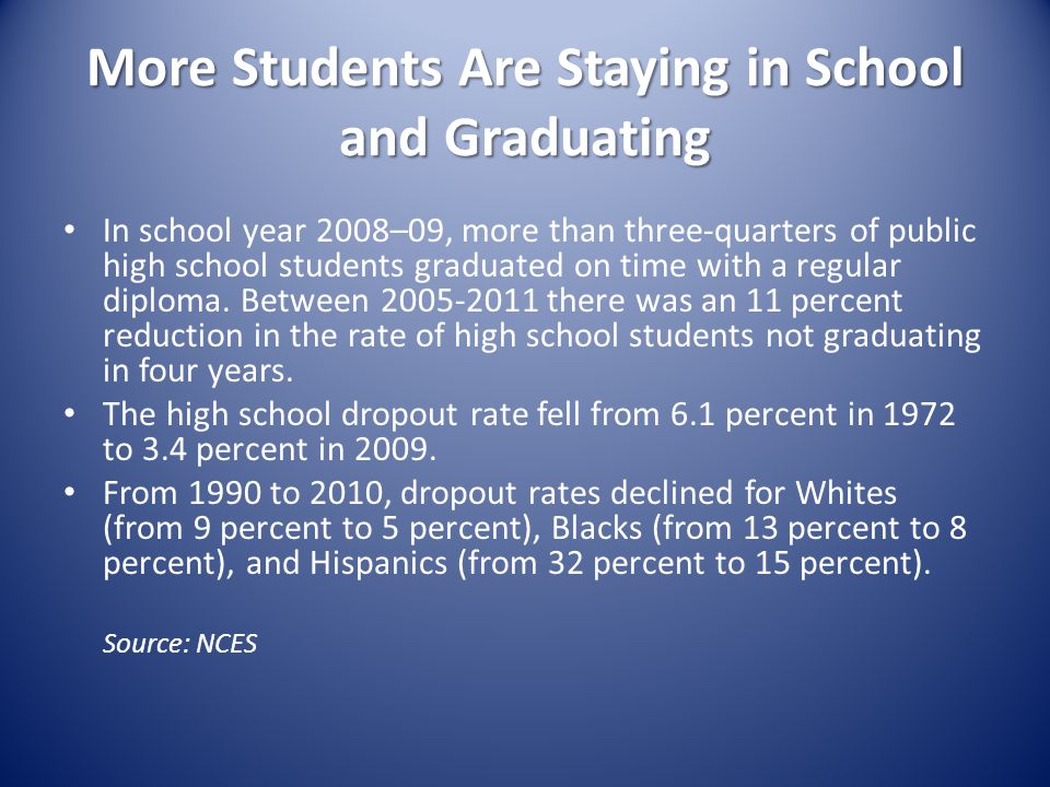 More Students Are Staying in School and Graduating In school year 2008–09, more than three-quarters of public high school students graduated on time with a regular diploma.