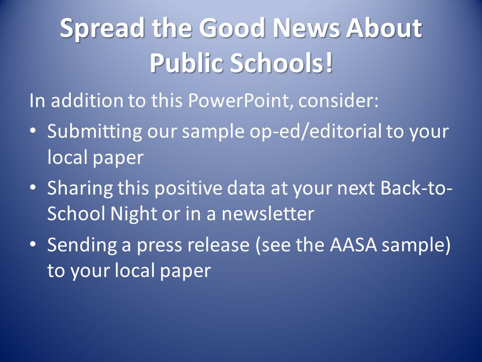 Spread the Good News About Public Schools.