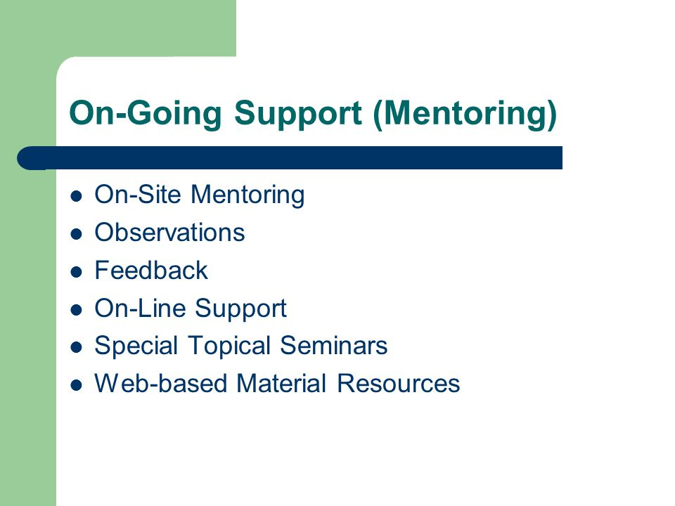 On-Going Support (Mentoring) On-Site Mentoring Observations Feedback On-Line Support Special Topical Seminars Web-based Material Resources