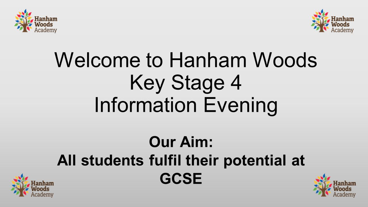 Welcome to Hanham Woods Key Stage 4 Information Evening Our Aim: All students fulfil their potential at GCSE