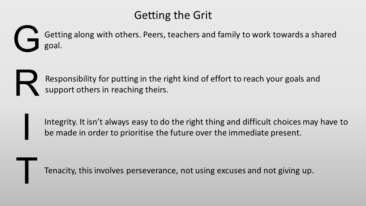 GRITGRIT Getting along with others. Peers, teachers and family to work towards a shared goal. Responsibility for putting in the right kind of effort t