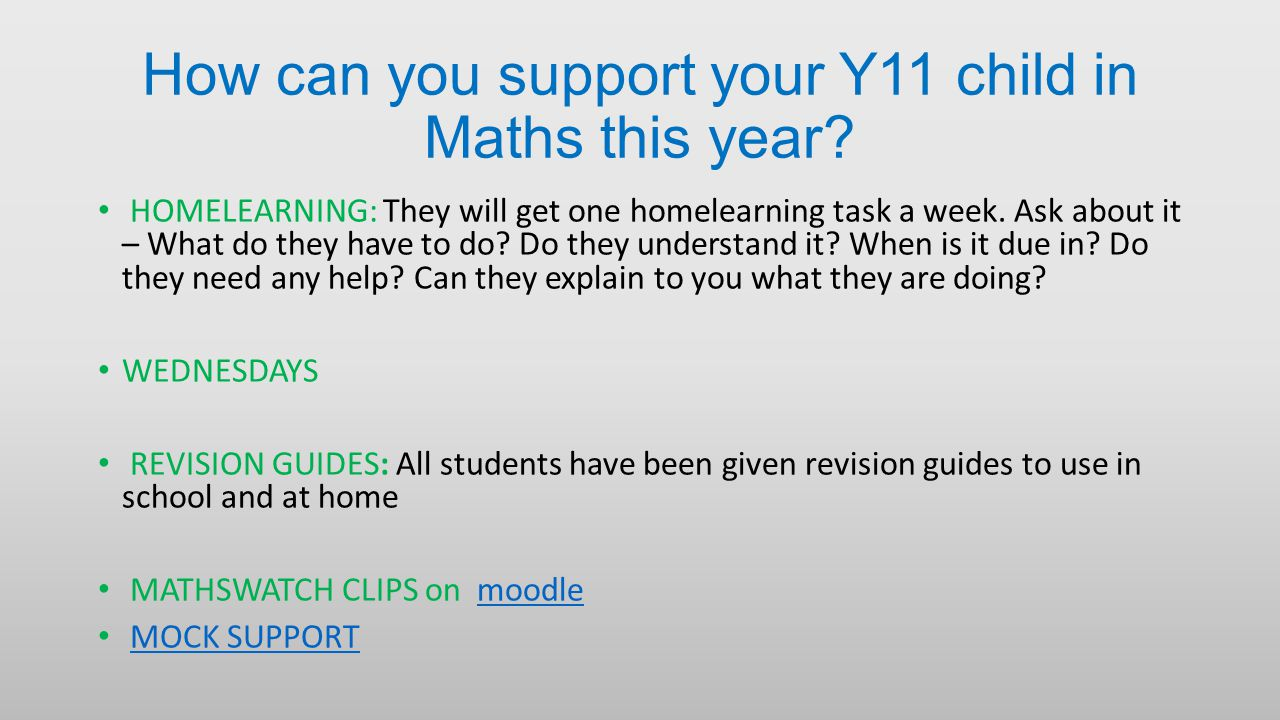 How can you support your Y11 child in Maths this year.