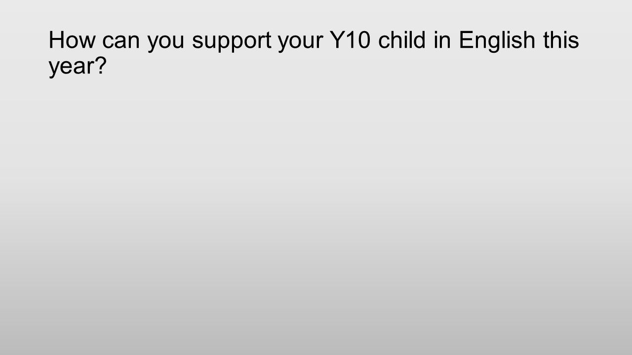 How can you support your Y10 child in English this year?