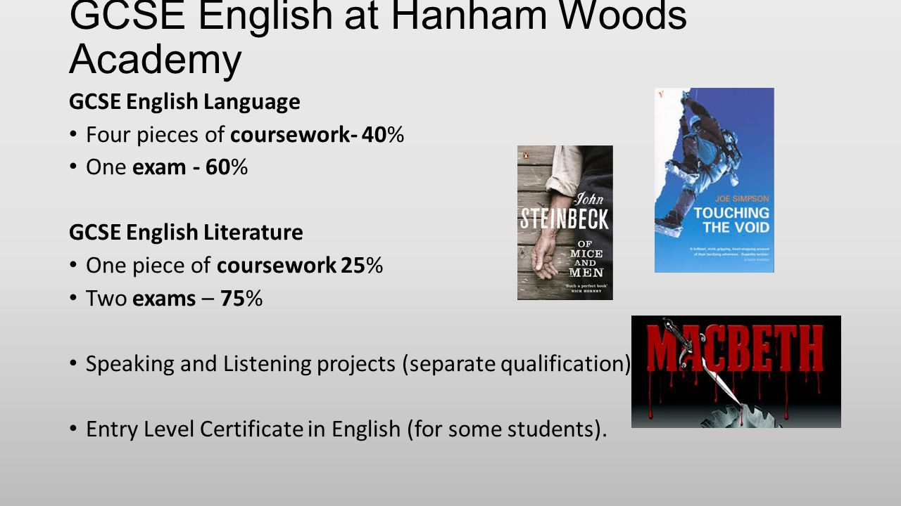 GCSE English at Hanham Woods Academy GCSE English Language Four pieces of coursework- 40% One exam - 60% GCSE English Literature One piece of coursework 25% Two exams – 75% Speaking and Listening projects (separate qualification) Entry Level Certificate in English (for some students).