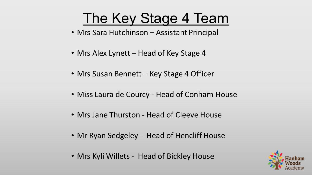 The Key Stage 4 Team Mrs Sara Hutchinson – Assistant Principal Mrs Alex Lynett – Head of Key Stage 4 Mrs Susan Bennett – Key Stage 4 Officer Miss Laur