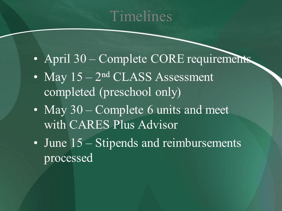 Timelines April 30 – Complete CORE requirements May 15 – 2 nd CLASS Assessment completed (preschool only) May 30 – Complete 6 units and meet with CARE