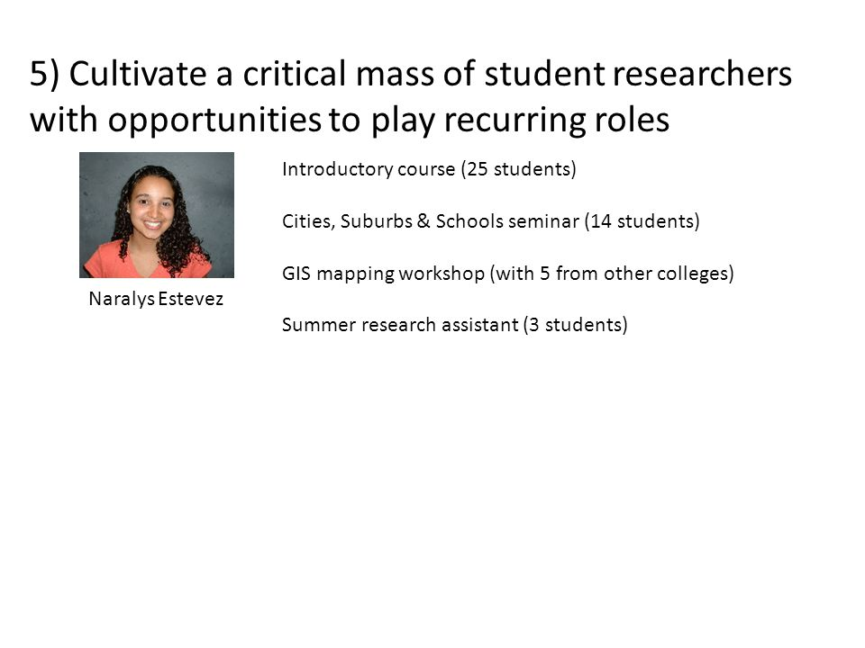 5) Cultivate a critical mass of student researchers with opportunities to play recurring roles Naralys Estevez Introductory course (25 students) Cities, Suburbs & Schools seminar (14 students) GIS mapping workshop (with 5 from other colleges) Summer research assistant (3 students)