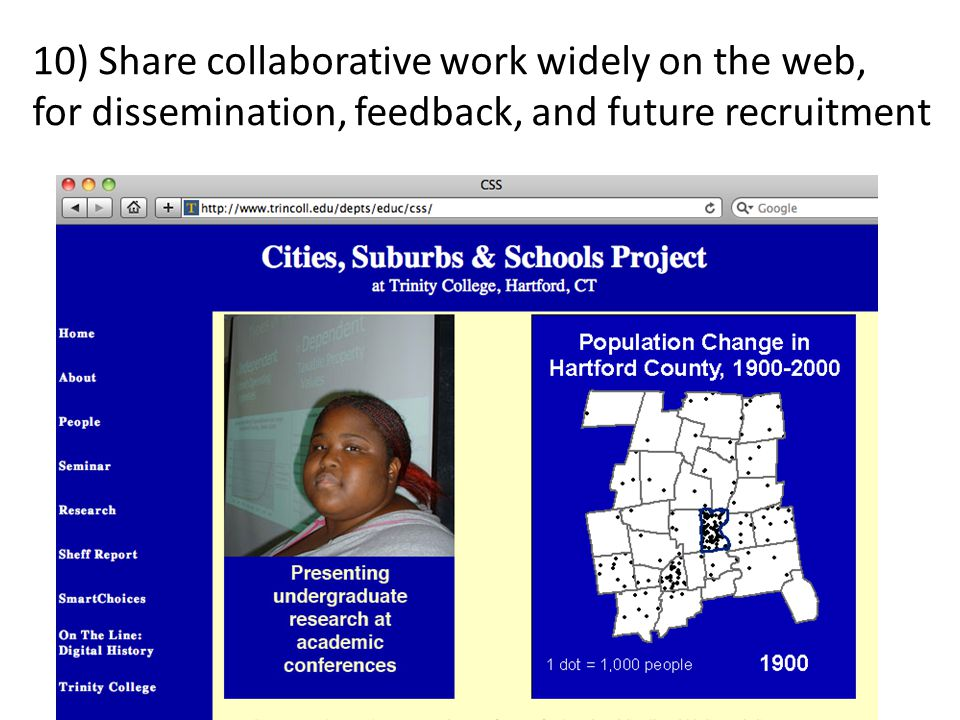 10) Share collaborative work widely on the web, for dissemination, feedback, and future recruitment