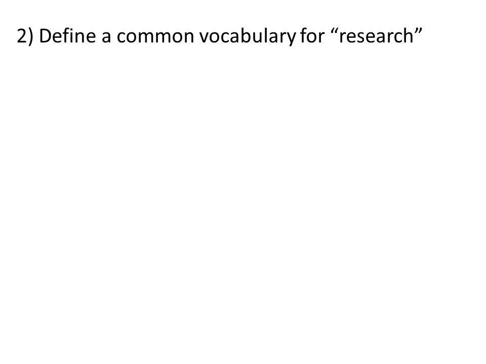 2) Define a common vocabulary for research