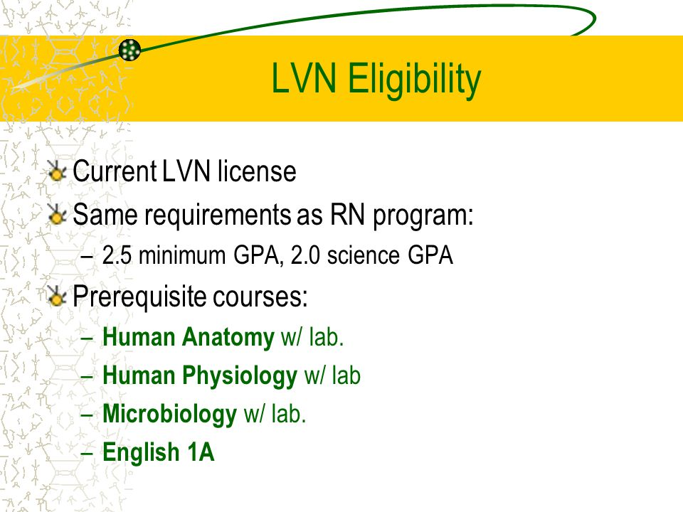 LVN Eligibility Current LVN license Same requirements as RN program: –2.5 minimum GPA, 2.0 science GPA Prerequisite courses: – Human Anatomy w/ lab.