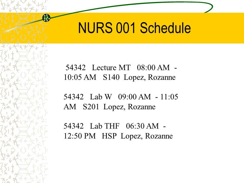 NURS 001 Schedule 54342 Lecture MT 08:00 AM - 10:05 AM S140 Lopez, Rozanne 54342 Lab W 09:00 AM - 11:05 AM S201 Lopez, Rozanne 54342 Lab THF 06:30 AM - 12:50 PM HSP Lopez, Rozanne