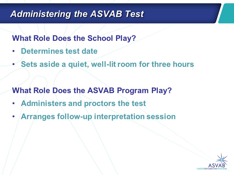 Administering the ASVAB Test What Role Does the School Play? Determines test date Sets aside a quiet, well-lit room for three hours What Role Does the
