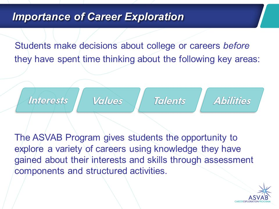 Student Benefits The ASVAB Program encourages students to: Explore –Learn about themselves and the world of work Plan –Find out what they need to do to meet career goals Do –Take steps toward getting skills and qualifications for various occupations It's a great break-down of their types, and it links seamlessly to appropriate careers.