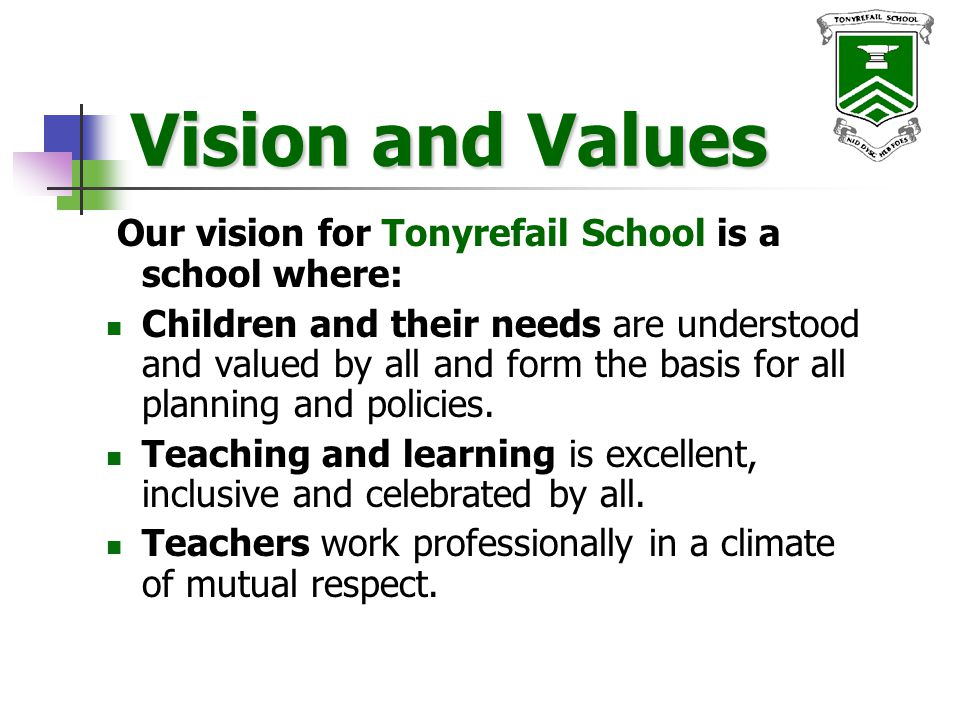 Vision and Values cont.Governors lead school policy setting and ensure accountability.