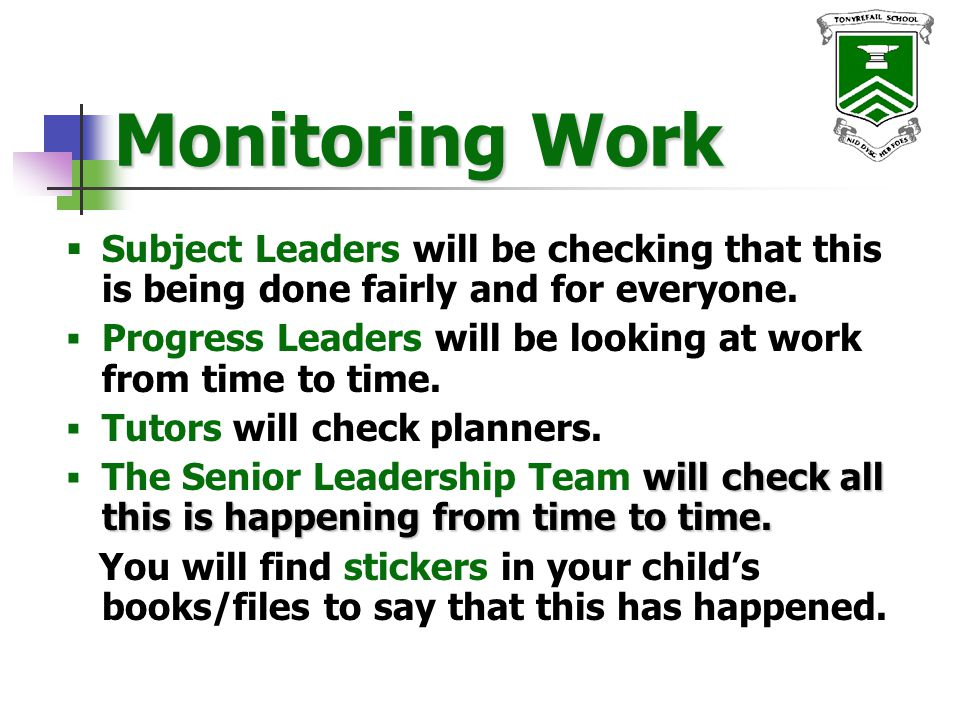 Year Group Monitoring  Each Year Group will be monitored in detail.