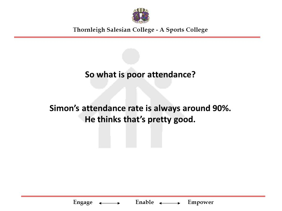 Engage Enable Empower So what is poor attendance. Simon's attendance rate is always around 90%.