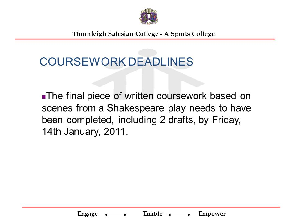 Cie coursework deadlines for college