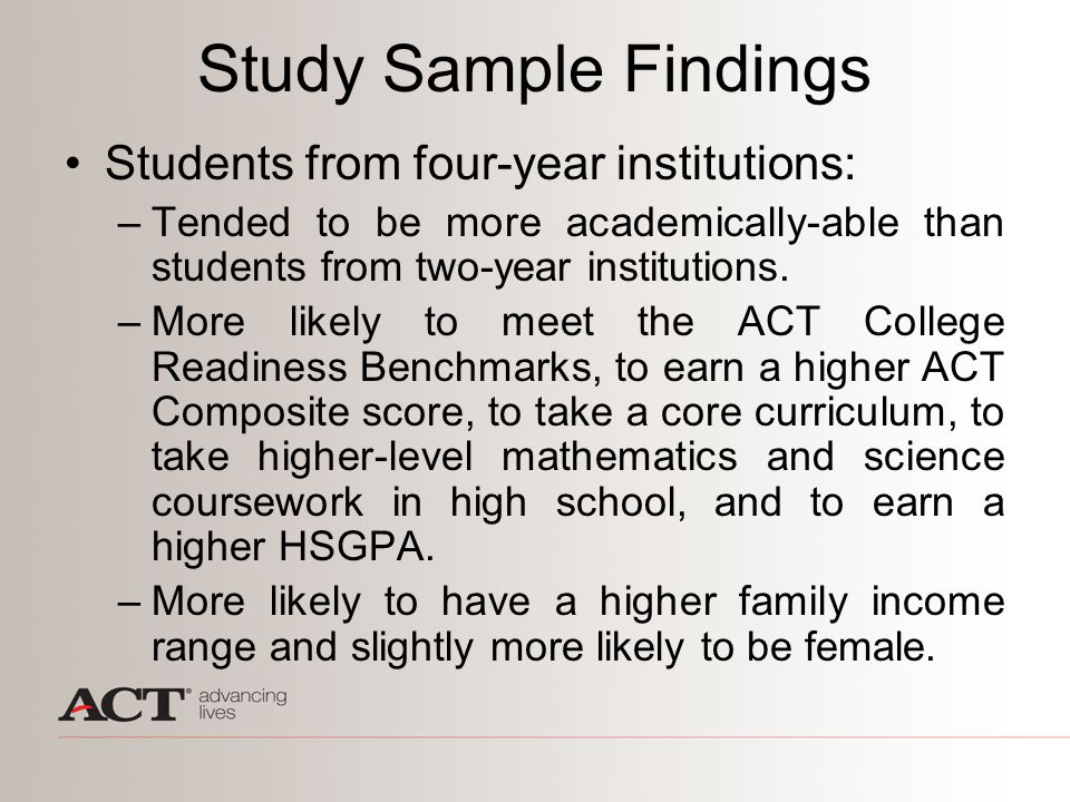 Study Sample Findings Students from four-year institutions: –Tended to be more academically-able than students from two-year institutions. –More likel