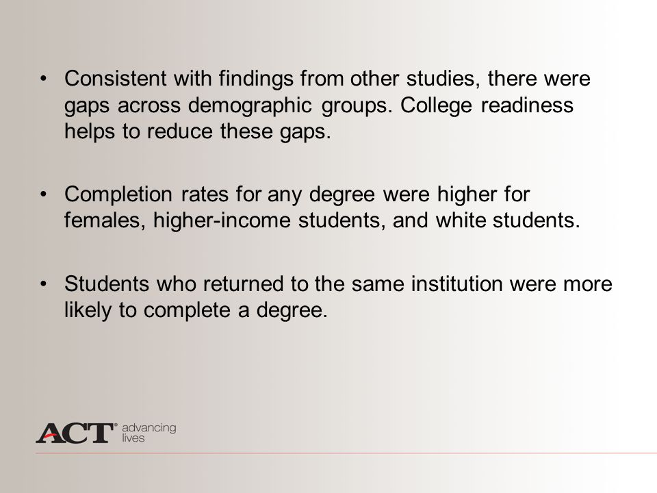 Consistent with findings from other studies, there were gaps across demographic groups. College readiness helps to reduce these gaps. Completion rates