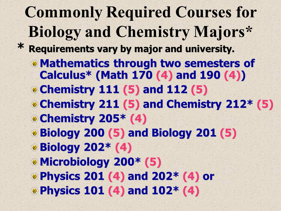 * Requirements vary by major and university. Mathematics through two semesters of Calculus* (Math 170 (4) and 190 (4)) Chemistry 111 (5) and 112 (5) C