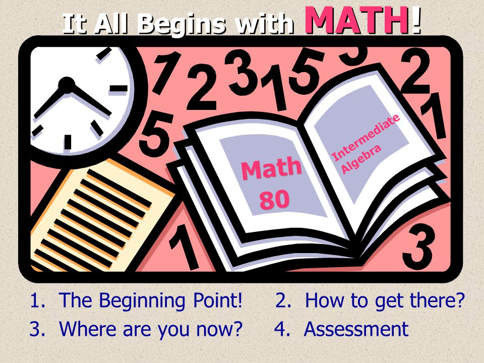 It All Begins with MATH! Math 80 Math 80 1. The Beginning Point! 2. How to get there? 3. Where are you now? 4. Assessment Intermediate Algebra