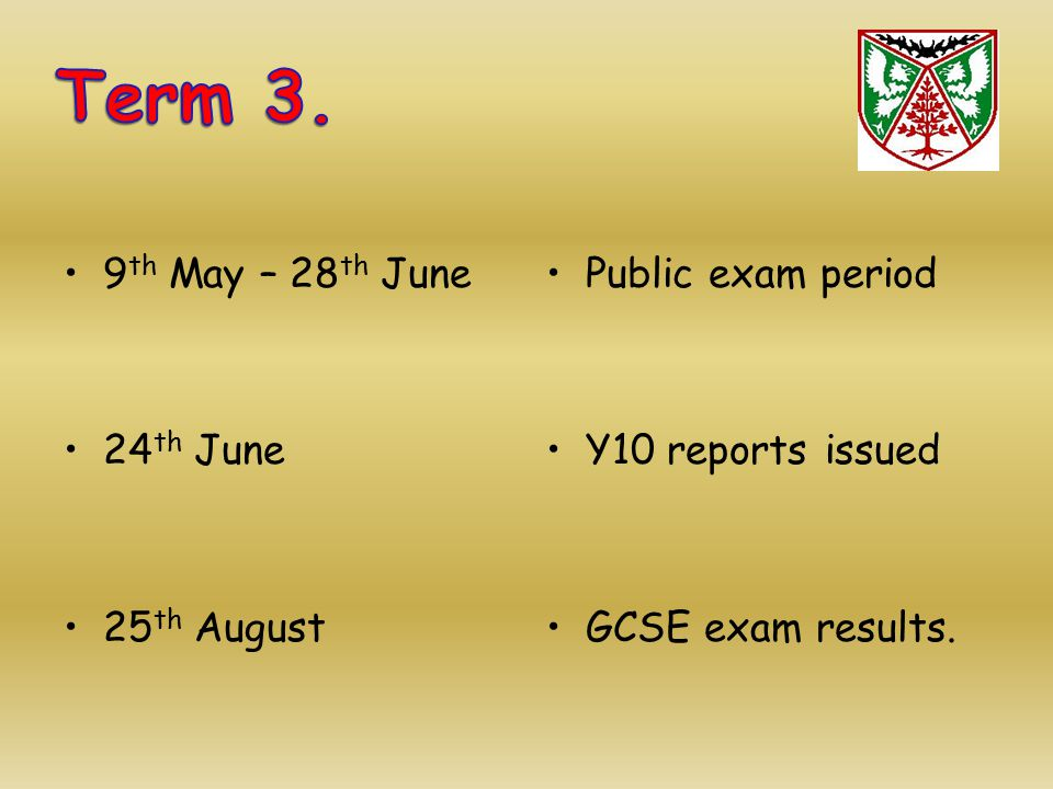 9 th May – 28 th June 24 th June 25 th August Public exam period Y10 reports issued GCSE exam results.